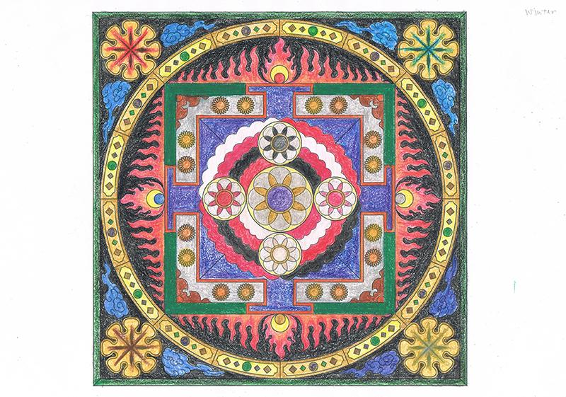 曼荼羅塗り絵-冬